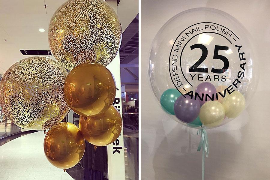 bubbel ballonger med konfetti och tryck